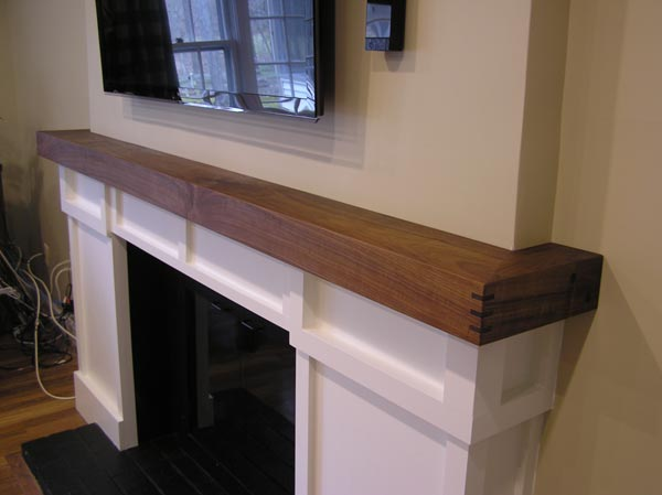 White And Red Works Custom Furniture Walnut Fireplace